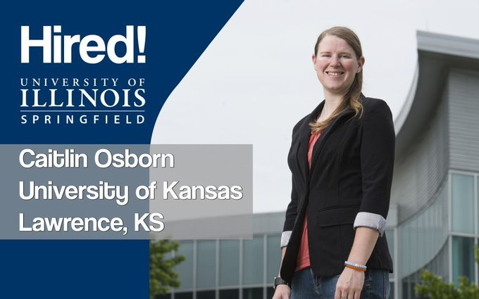 Hired! Recent #UISedu master's of public administration graduate Caitlin Osborn is now working as a Recreational Services Operations Coordinator at the University of Kansas. Congratulations! https://t.co/7lPMisKFhX