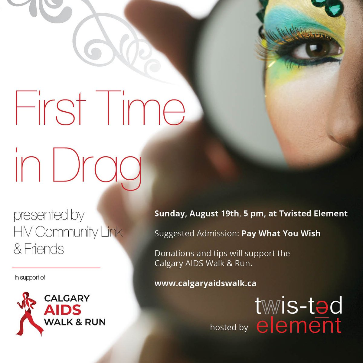 Come to Twisted Element this Sunday at 5pm to see @HIVCommLink staff &amp; friends performing drag fro the first time. We have amazing drag performers, silent auction items, get ready to have a lot of fun while fundraising for the Calgary AIDS Walk &amp; Run #calgaryaidswalk #yycevents <br>http://pic.twitter.com/TE2vSGhQ46
