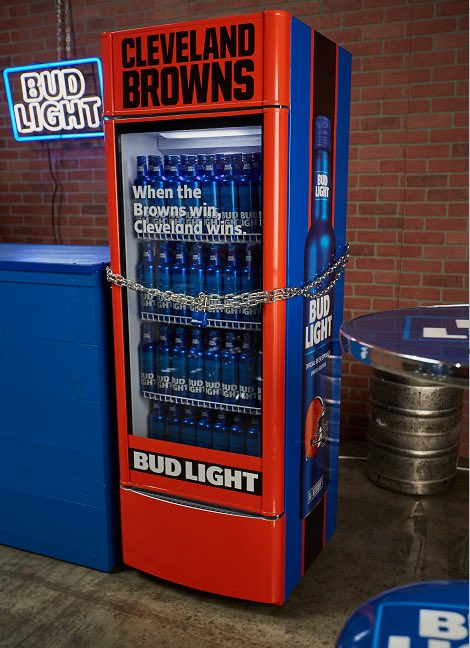 "JUST IN: Starting today, @budlight is installing ""Victory Fridges"" that will be full of beer in 10 Cleveland bars. When the Browns win first regular season game, fridges unlock and beer inside is free to fans."