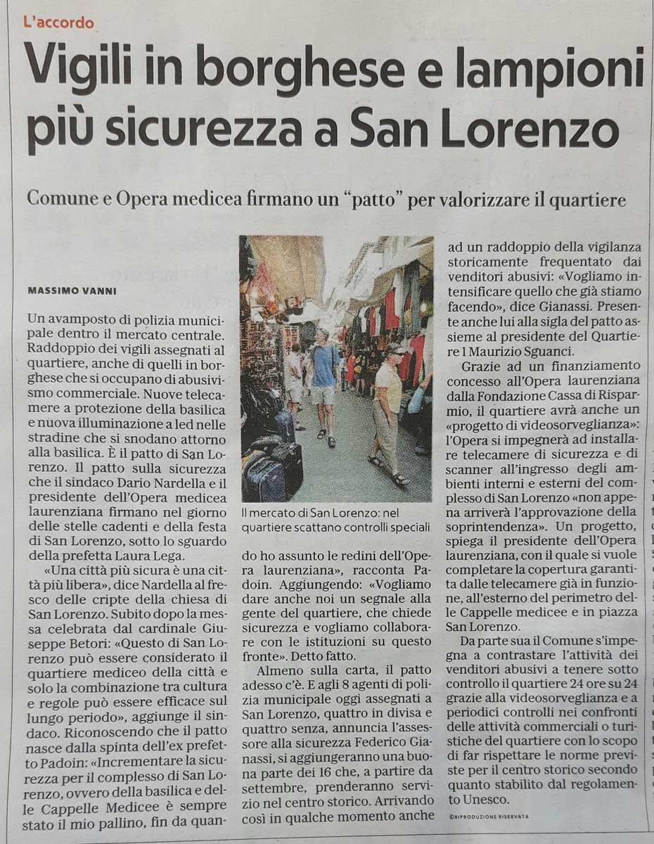 Qualche giorno fa la firma del patto per la migliorare la sicurezza #SanLorenzo con @operamedicealau: in arrivo anche nuove telecamere, illuminazione a led e più presenza della #PoliziaMunicipale. Ecco i nostri agenti già in servizio  - Ukustom