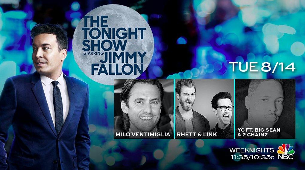 Tonight on the show: @MiloVentimiglia, @rhettandlink, and music from @YG ft. @BigSean & @2chainz! #FallonTonight
