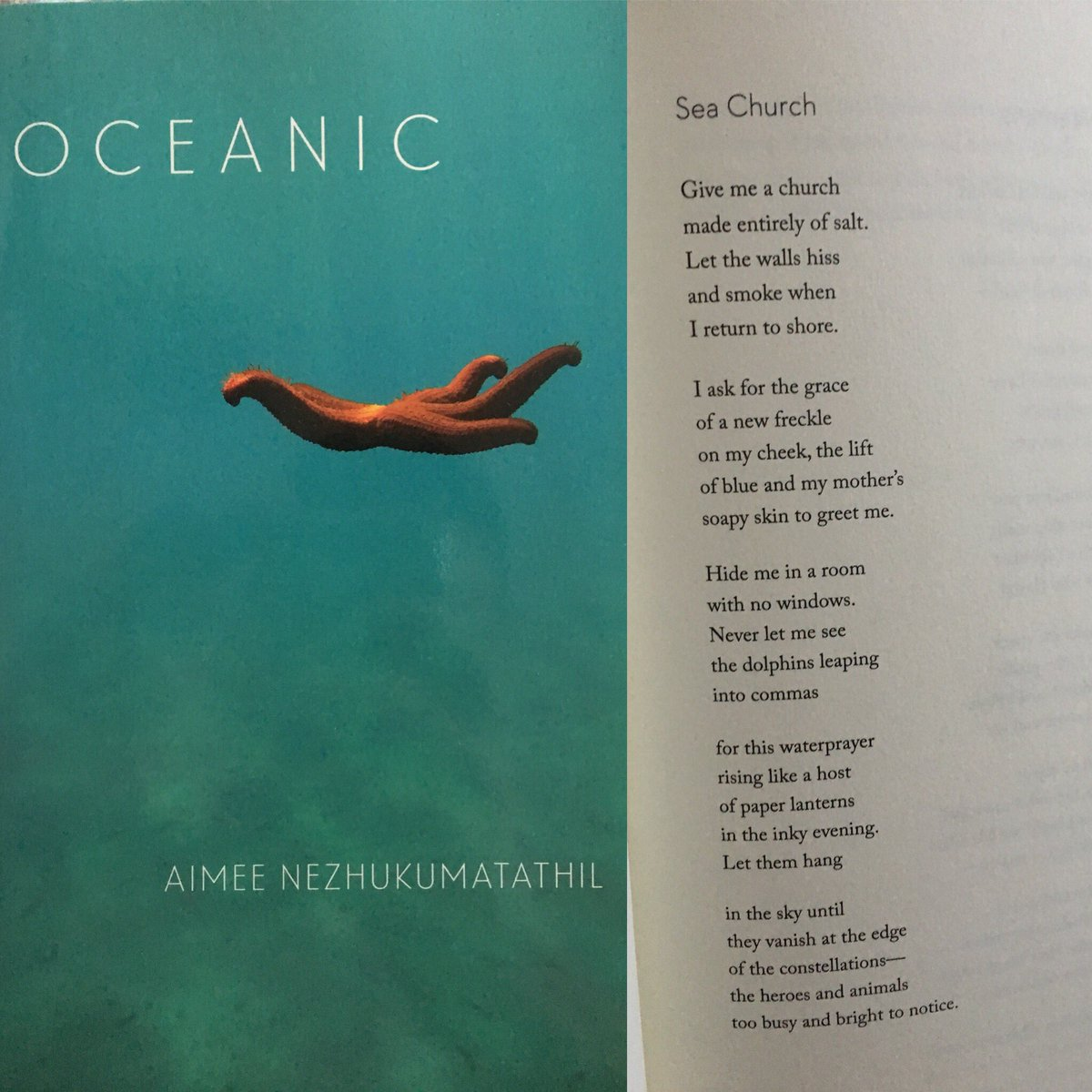 """'Give me a church made entirely of salt.' Aimee Nezhukumatathil, """"Sea Church"""" from Oceanic, 13/31 #TheSealeyChallenge #31Books31Days<br>http://pic.twitter.com/K8kNcTBLsz"""