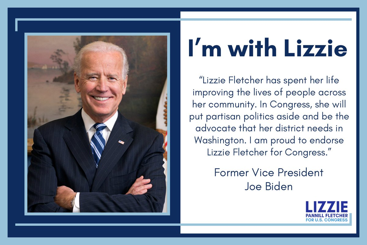 I&#39;m proud to earn the support of @JoeBiden, a leader with a tremendous record of service to this country. In Congress, I&#39;ll work tirelessly to protect our health care system, promote policies that foster economic growth, &amp; fight for working families across #TX07. #TeamLizzie<br>http://pic.twitter.com/LILagwzbyg