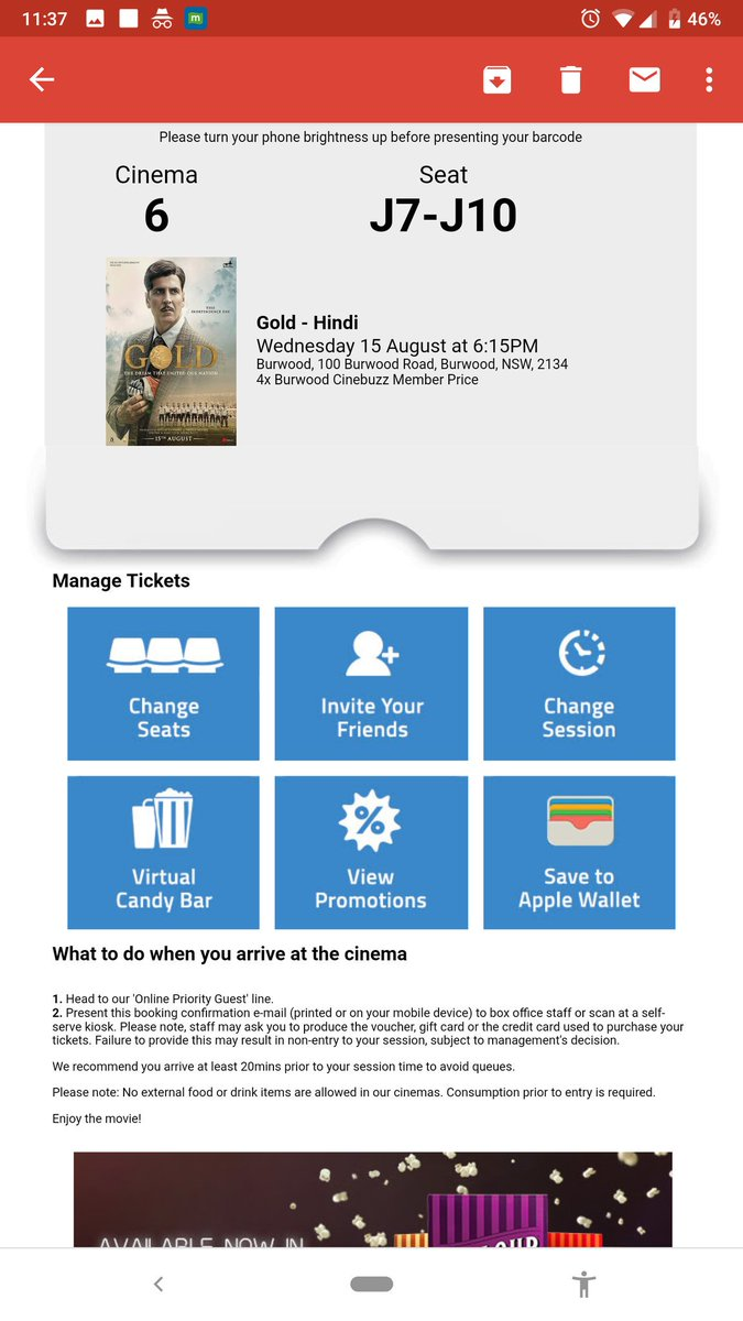 Booked 8 tickets for #Gold at Burwood event Cinema! Really excited for this one! Heard some really good stuff about climax especially! Can&#39;t wait anymore! Wish you all the very best @akshaykumar @Roymouni @FarOutAkhtar @reemakagti @excelmovies @TheAmitSadh and team! #goldmovie <br>http://pic.twitter.com/Jmmzs8Dugj