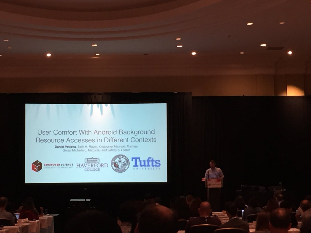 Next up at #soups2018 @drvotipka on users understanding of android permissions and access. Coauthored with Seth Rabin @krismicinski @tomgilray Michelle Mazurek & Jeff Foster @CollegeParkMC2 @umdcs @umiacs