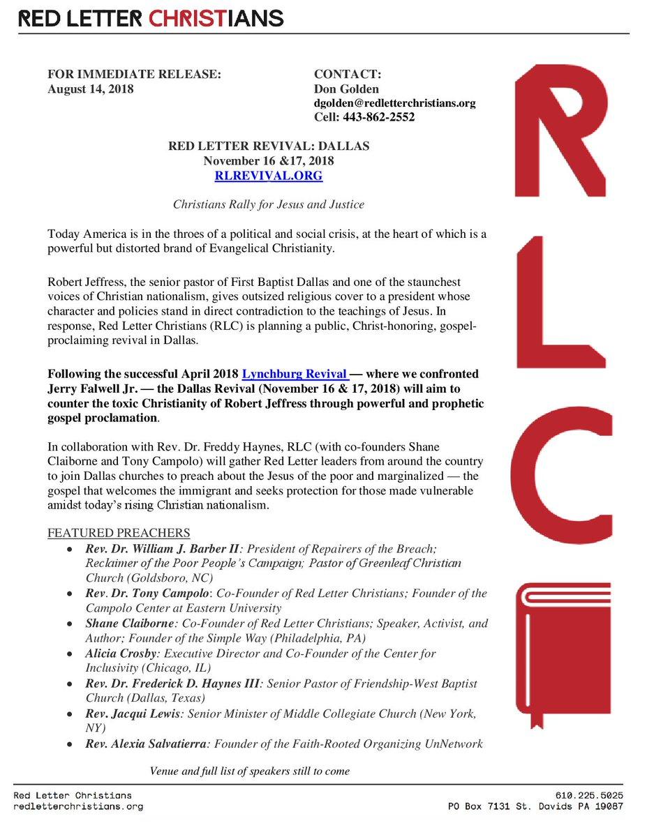 Red Letter Revival.Red Letter Christians On Twitter Breaking The Dallasrevival Is