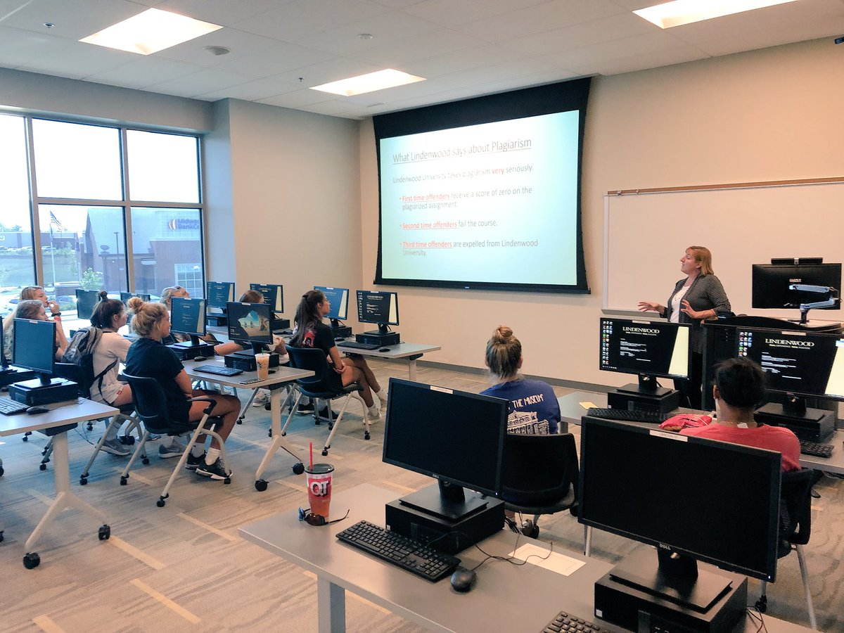 .@LindenwoodWVB back on campus and already putting the STUDENT in student-athlete!  They participated in a plagiarism and citation workshop put on by our awesome writing lab in the #LARC! <br>http://pic.twitter.com/6Fv1GUFmix
