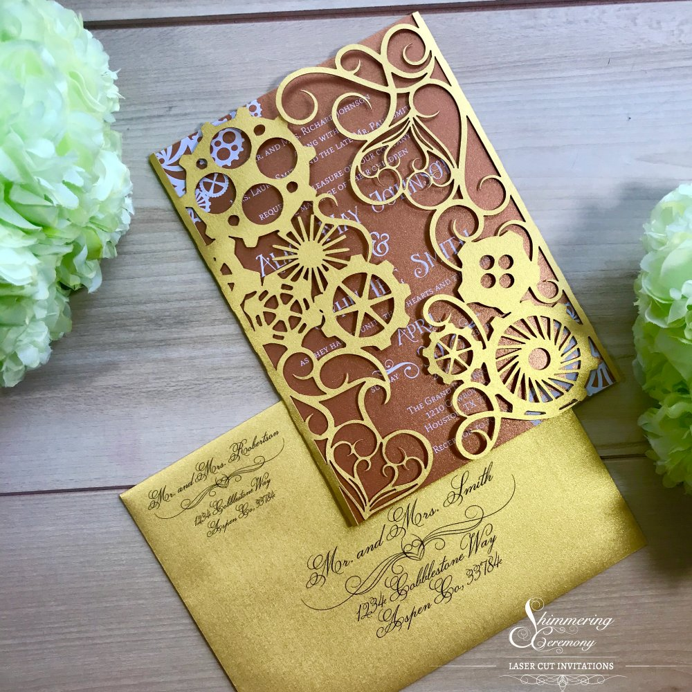 So in love with the gold and copper color combination of our steampunk laser cut invitation. Victorian hearts and industrial gears are a perfect match. Check out this and many more laser cut creations at https://t.co/hCKIQvqbZa #steampunk #victorian #invites #gold #copper