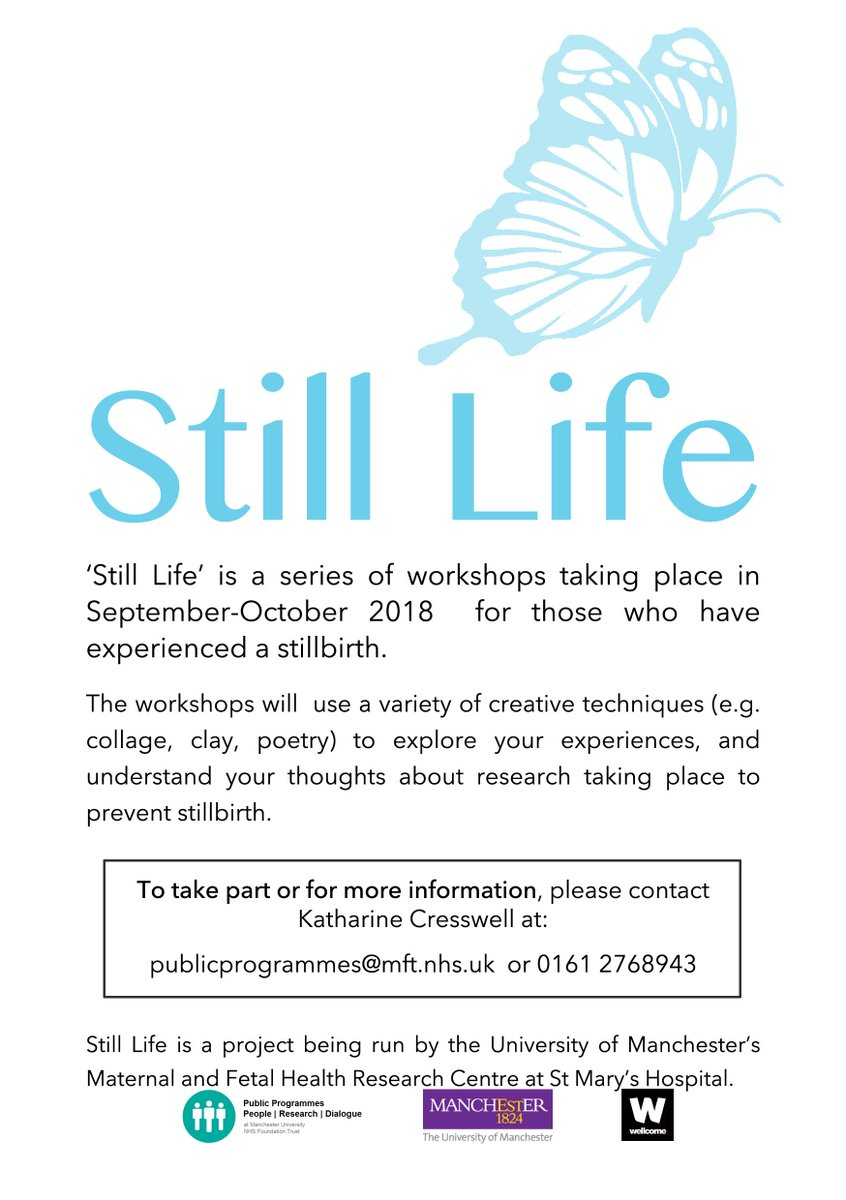 We would like to invite people who have had a stillbirth to take part in our new project &#39;Still Life&#39;. Through a series of workshops you will explore your own experiences of stillbirth &amp; the research taking place to prevent it. For more info contact katharine.cresswell@mft.nhs.uk <br>http://pic.twitter.com/YVAZzqcyMi