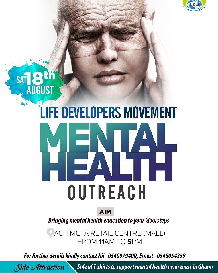 Join us this Saturday, 18th of August, 2018 at the Achimota Retail Center for our mental health outreach.  What is Mental Health Outreach?  This is a public engagement event that aims at making mental health information available to patrons of a particular mall. <br>http://pic.twitter.com/F4i6ggREZQ