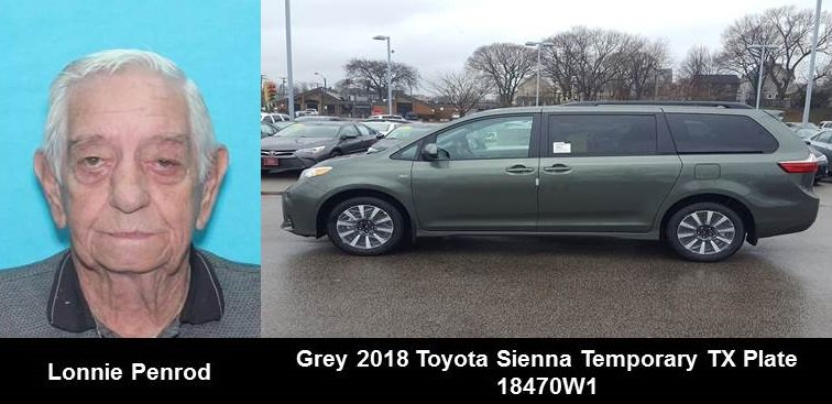 ACTIVE SILVER ALERT FOR LONNIE PENROD FROM SAN ANTONIO, TX, ON 08/14/18, TX TEMPORARY PLATE 18470W1 <br>http://pic.twitter.com/7wkreWMbKV