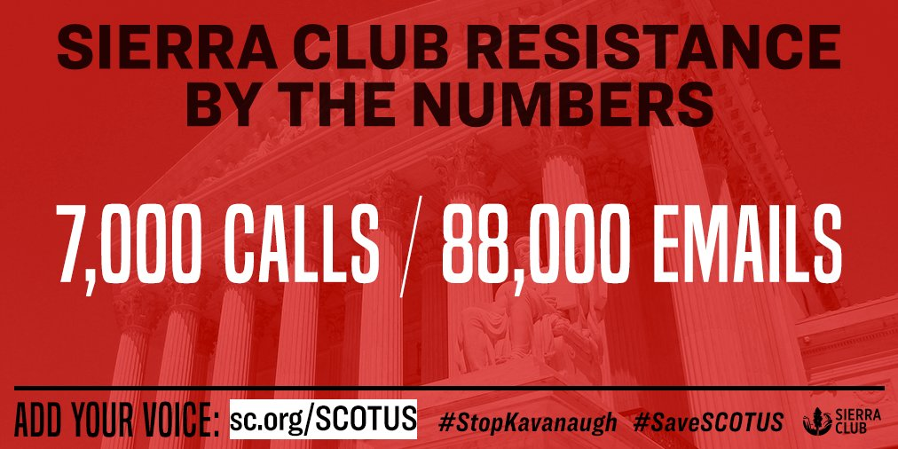 In the month since Trump announced Brett Kavanaugh as his nominee for Supreme Court, Sierra Club supporters have made their voices heard. Have you taken action yet? https://t.co/upRLx8iEpG #StopKavanaugh #SaveSCOTUS