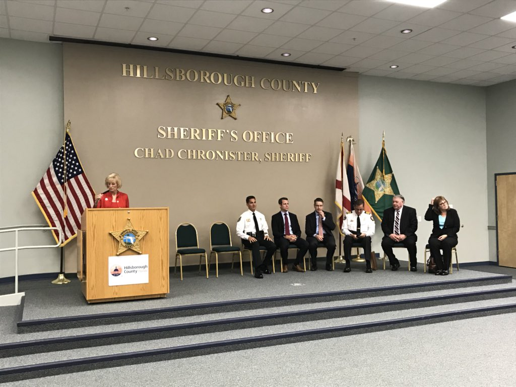 Sheriff @ChadChronister is at Falkenburg Rd Jail with @sandymurman and others in the medical and justice system in support of #Hillsborough County filing a lawsuit against drug companies that contributed to the #opioid addiction crisis. #happeningnow #opioidcrisis<br>http://pic.twitter.com/e39QUhjolA