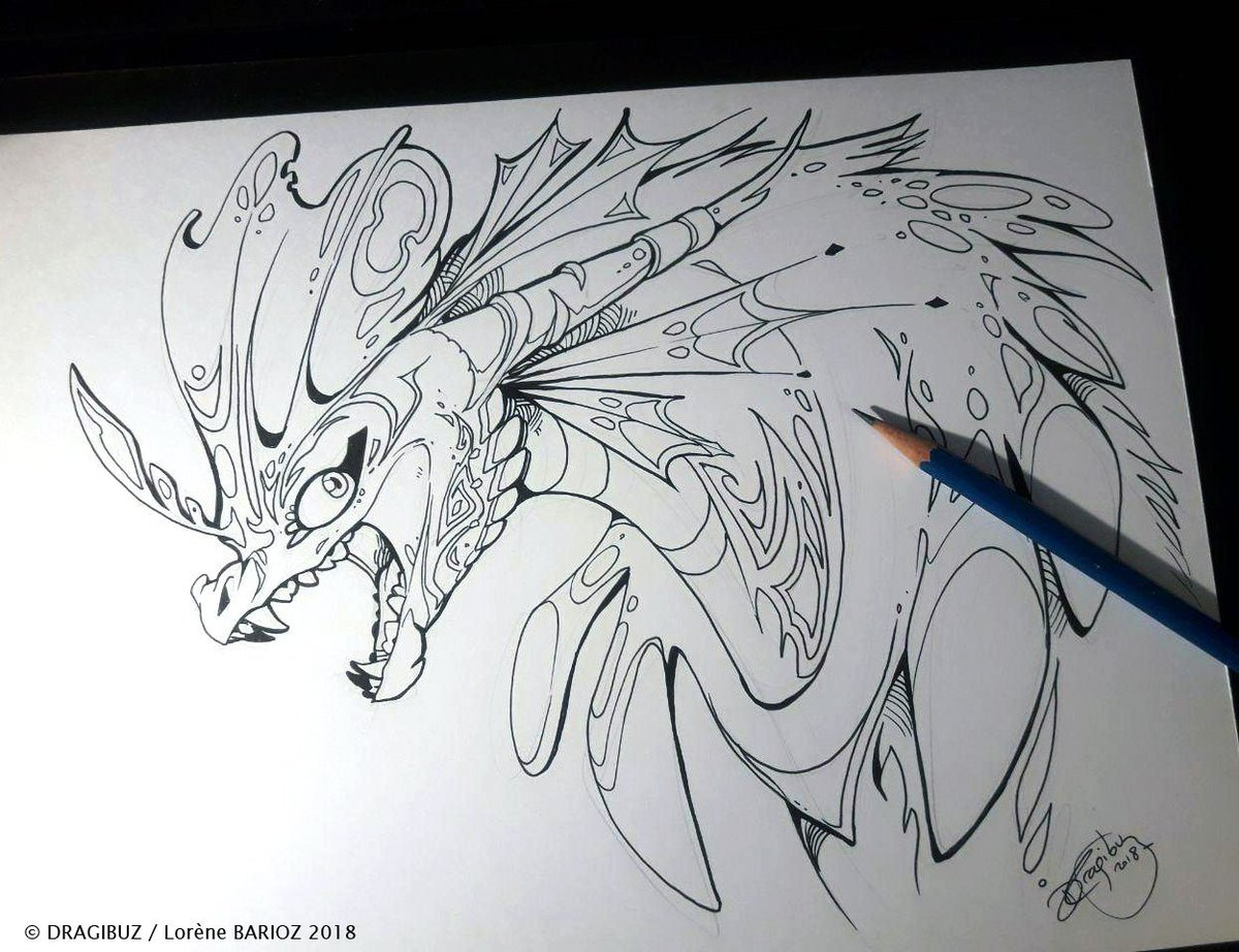 Water Dragon ~ 1h Inking / A4 paper sheet <br>http://pic.twitter.com/1Jtqb4hujt