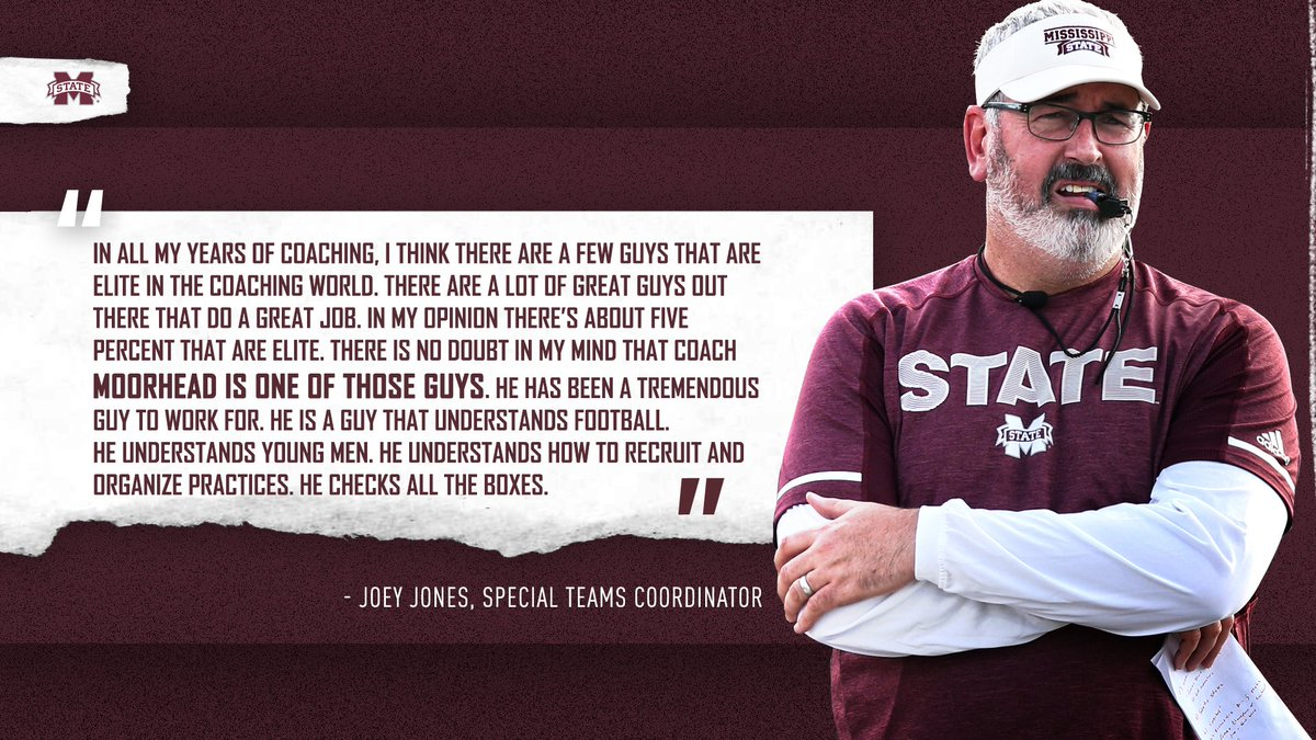 &quot;I think there are a few guys that are elite in the coaching world. @BallCoachJoeMo is one of those guys.&quot; - Joey Jones, Special Team Coordinator  #HailState #ChampionshipStandard<br>http://pic.twitter.com/nDQNHlw3yU