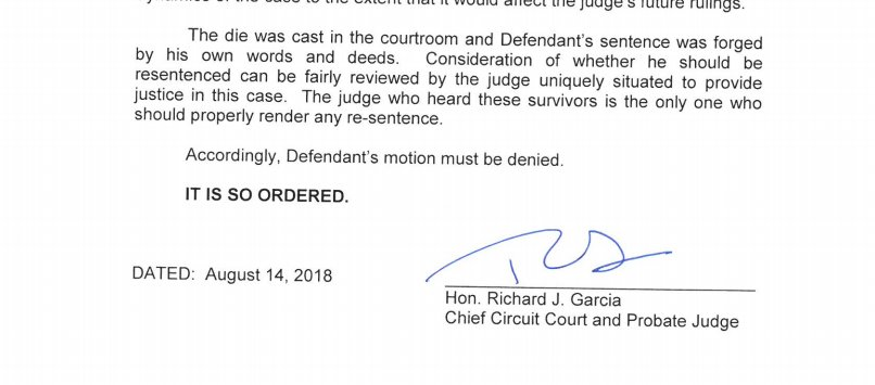 Chief judge has declined disgraced doctor Larry Nassar&#39;s motion to disqualify the judge who oversaw case. <br>http://pic.twitter.com/S0Pkq9XXet