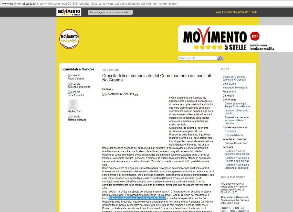 @DaniloToninelli e @luigidimaio voi del #M5S sul vostro blog dicevate che il crollo del ponte era una #favoletta (2013). Avete fatto un comitato contro #LaGronda che avrebbe sostituito il ponte. #dimissioni #ponteMorandi #Genova #responsabili #GovernoDelCambiamentoInPeggio  - Ukustom