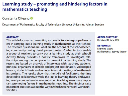 An #OpenAccess Learning Study in our latest issue. Read it, and the rest of Issue 7, here:   https://www. tandfonline.com/doi/full/10.10 80/0020739X.2018.1443222 &nbsp; …   https://www. tandfonline.com/toc/tmes20/49/7  &nbsp;  <br>http://pic.twitter.com/gCLz133QJv