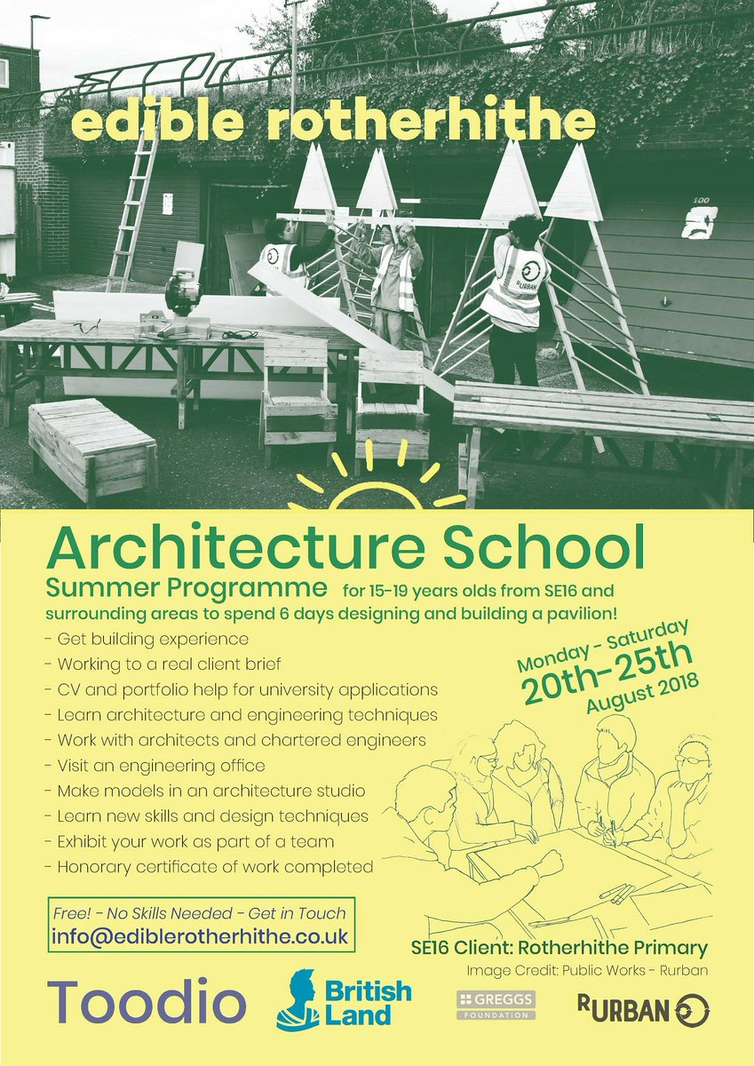 Are you a student aged 15-19 interested in developing new design skills? | Help transform a local primary school's playground at this year's #SummerArchitectureSchool with @EdibleSE16 from 20-25 August. Find out more https://t.co/ogmbBUh61i #DMRecommends