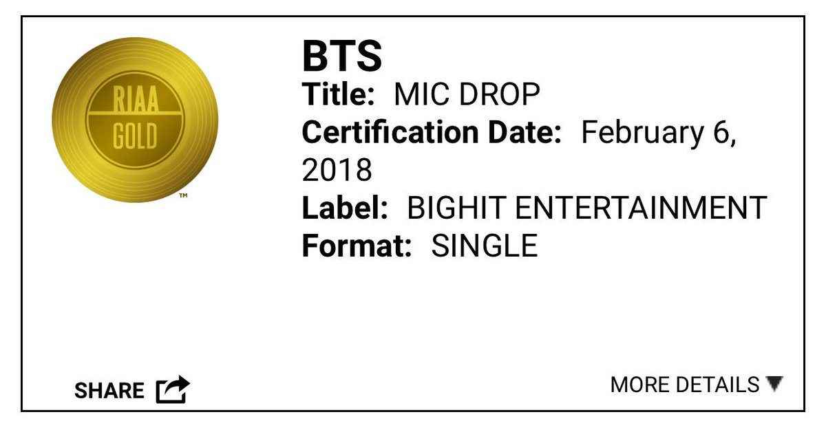 Mic Drop: Already a triple (quadruple or quintuple) threat with the original and its remixes.  DNA: Successful debut performance at AMAs.  FL: Highly anticipated first U.S. comeback performance.  2018, A new holy trinity emerges.  #FakeLoveWentGold #FakeLoveRIAAGold @BTS_twt<br>http://pic.twitter.com/K61RgLMPws
