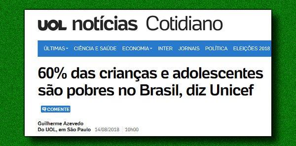 Sobre a polêmica do 'escola do lar', fala a Unicef: 61% das crianças são pobres no Brasil - https://t.co/3AfVUOGHjl