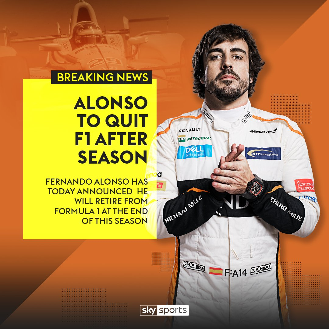 BREAKING: Fernando Alonso to quit F1 at the end of this season.