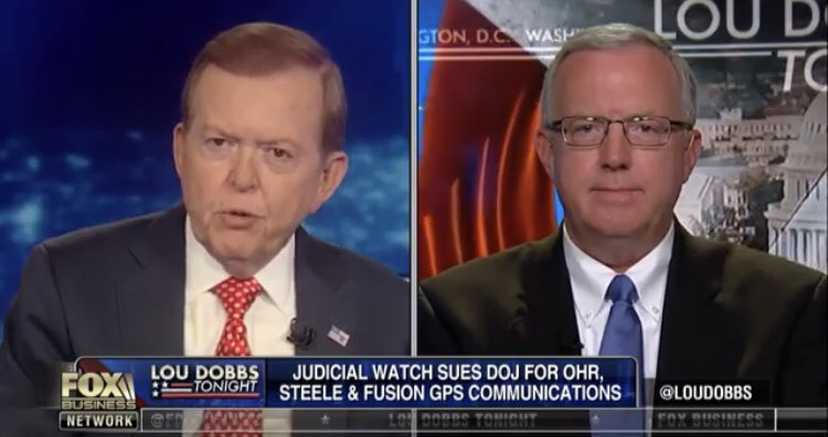 "JW's Chris Farrell w/ @LouDobbs on @FoxBusiness discussing JW's new lawsuit with DOJ seeking records of communication between Bruce Ohr, Christopher Steele, &amp; Fusion GPS: ""The real Russian collusion is with the Clinton campaign, the DNC, &amp; Fusion GPS.""    http:// jwatch.us/56qaBN  &nbsp;  <br>http://pic.twitter.com/ma6NUyQjQr"