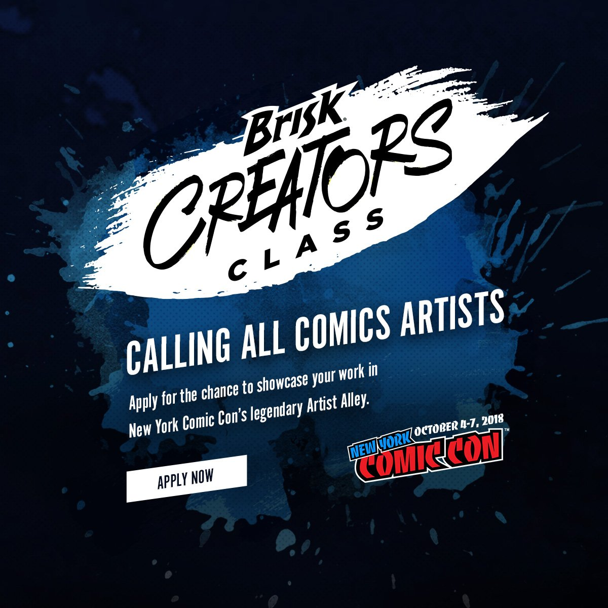 Creators assemble! We're teaming with @Brisk to give 2 artists their big break at #NYCC 2018 Artist Alley. If making visual art inspired by comics, manga, or graphic novels is your superpower, enter your favorite original art at the #CreatorsClass: https://t.co/BkmEg8Ty65. #Promo