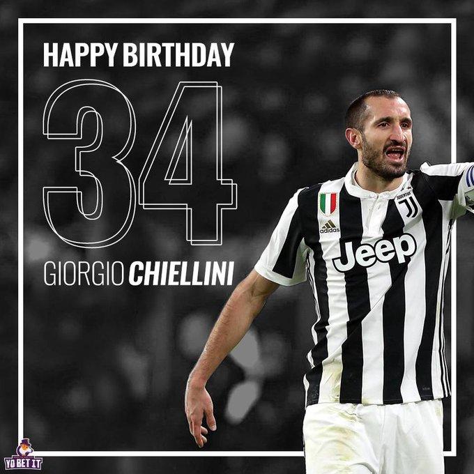 Happy birthday Giorgio Chiellini. Games: 472 Goals: 34 Trophies: 16
