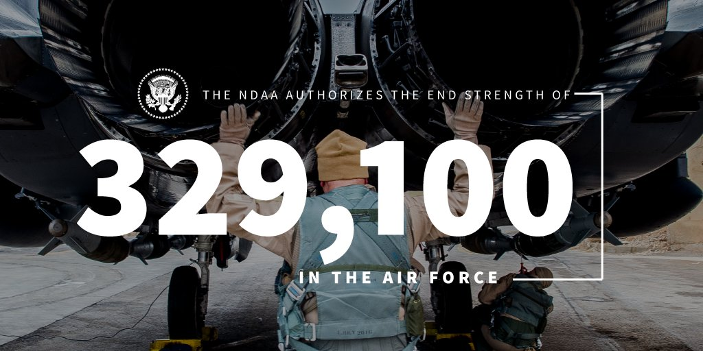 The NDAA authorizes an end strength of 329,100 for the @usairforce—plus $7.6 billion to procure 77 F-35 fighter jets. 45.wh.gov/n3gP9z