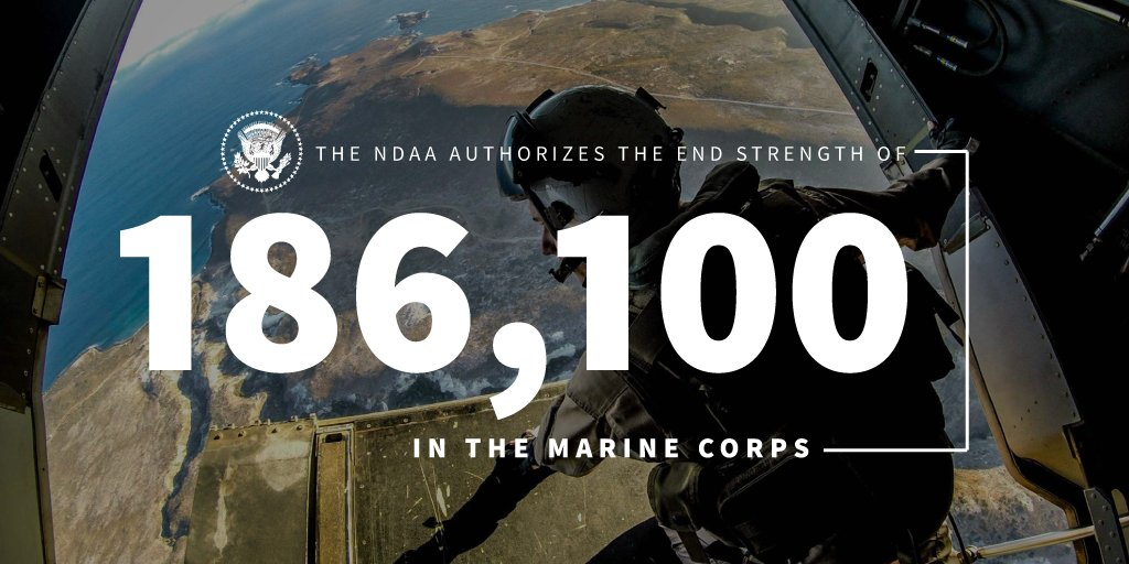 The 2019 NDAA will take the @USMC to an end strength of 186,100. #SemperFi 45.wh.gov/n3gP9z