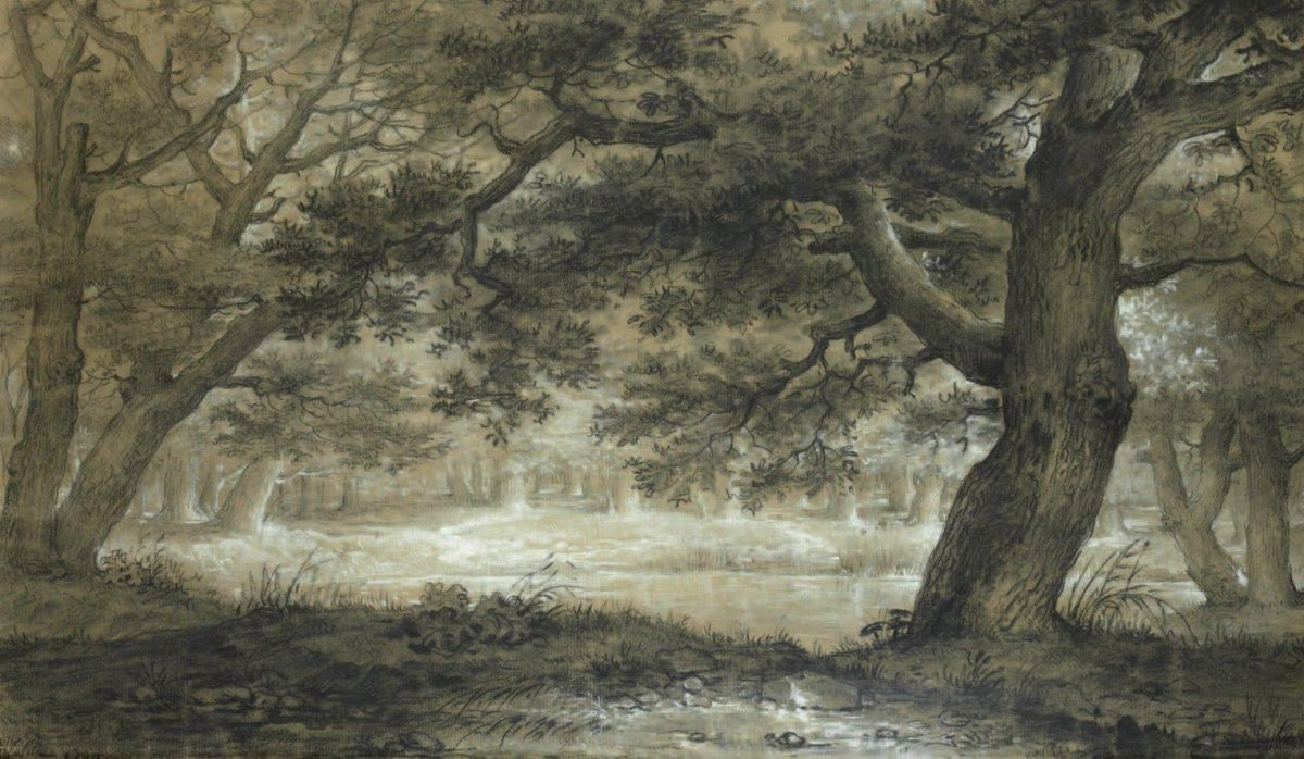 Louis LAFITTE (1770-1828) A clearing in the woods. Pierre noire, heightened with white. 1790. Private collection.<br>http://pic.twitter.com/ScsxzQkk31