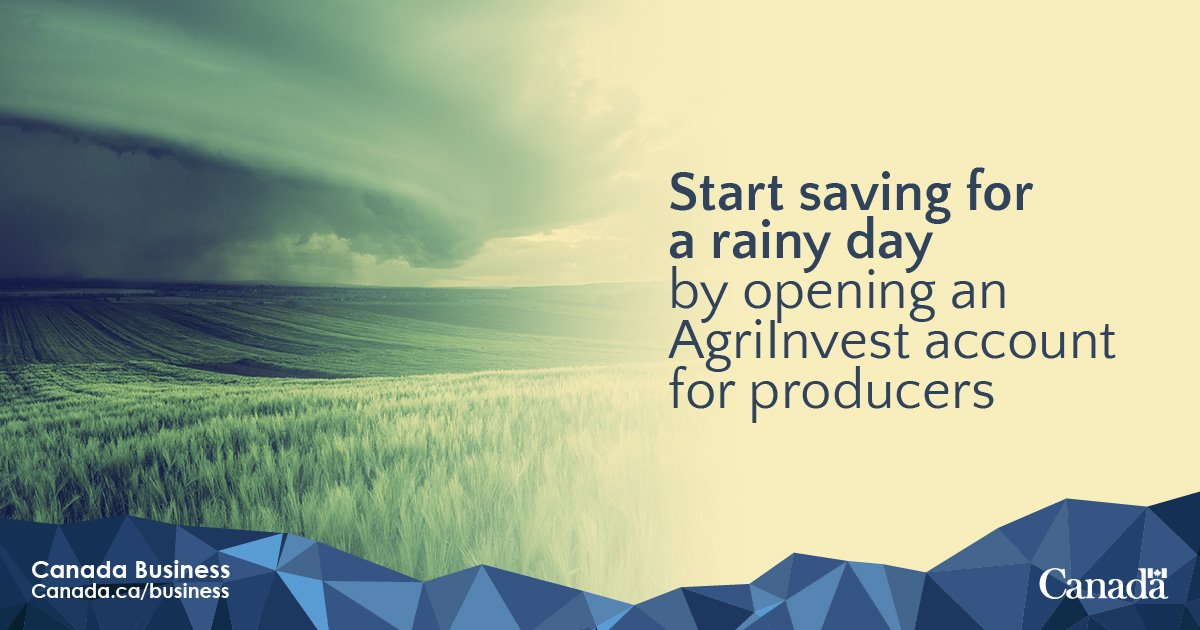 #Agrifood producers, start saving &amp; get matching govt contributions to help with small income shortfalls:  http:// ow.ly/2q1m30kVsZf  &nbsp;     @AAFC_Canada #AgriInvest #CdnAg<br>http://pic.twitter.com/EY5mttnnub
