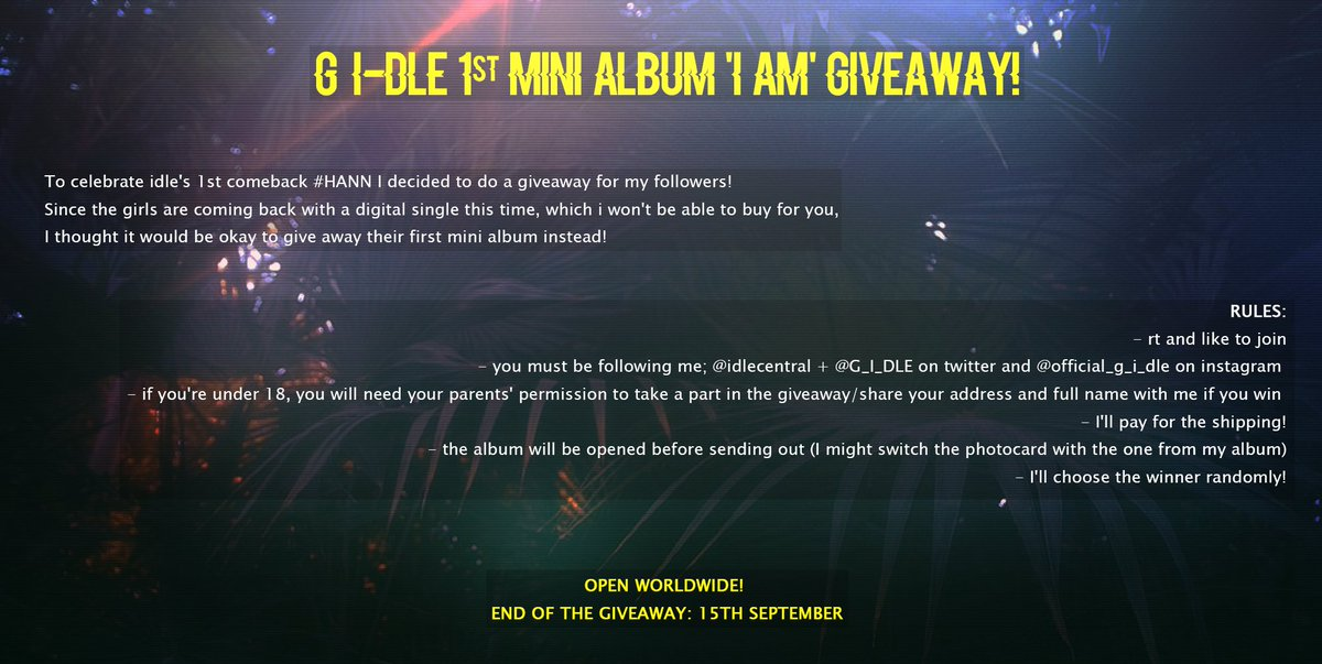 KPOP GIVEAWAY: (G)I-DLE 1ST MINI ALBUM!   • open worldwide  • rt/like to join  • must be following me and @/G_I_DLE on twitter + idle&#39;s acc on instagram @/official_g_i_dle • end of the giveaway: 15th september   open for more rules/information!  good luck! #G_I_DLE_HANN<br>http://pic.twitter.com/CSVpu3UQJx