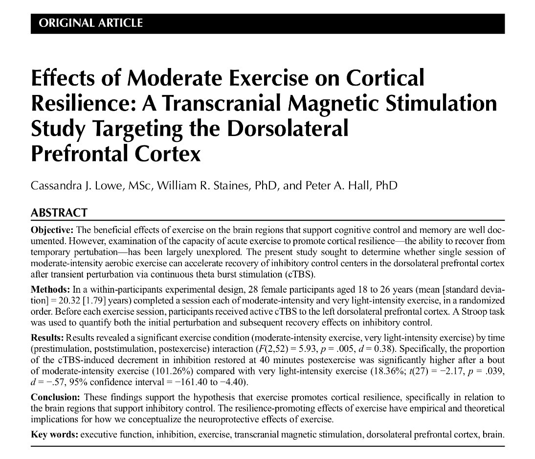 Effects of Moderate Exercise on Cortical Resilience: A Transcranial Magnetic Stimulation Study Targeting the Dorsolateral Prefrontal Cortex.  Lowe et al. Psychosom Med. 2017  #openaccess   https://www. researchgate.net/publication/30 4157925_Effects_of_Moderate_Exercise_on_Cortical_Resilience_A_Transcranial_Magnetic_Stimulation_Study_Targeting_the_Dorsolateral_Prefrontal_Cortex &nbsp; … <br>http://pic.twitter.com/tm7rwB16jC