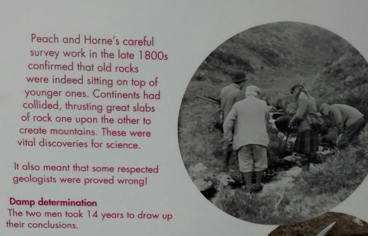Celebrating #geoheros Peach &amp; Horne, &amp; seminal discovery of the #MoineThrust at Knockan Crag, in 1880s N of Ullapool. 14 yes of research. Too slow for #REF2021, @PhysGeogMMU  @dawnitoes @glacio_cook<br>http://pic.twitter.com/8maoC1lCLS