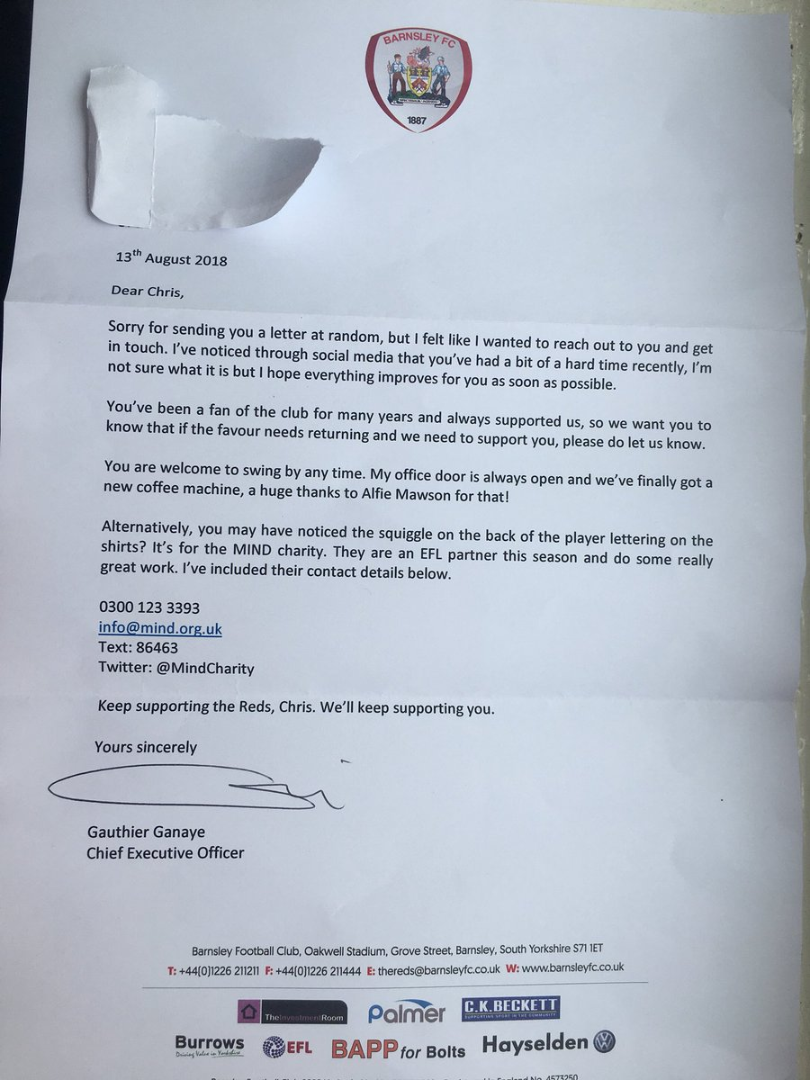 Barnsley sent this letter to support a fan who's suffering from depression. Pure class from @BarnsleyFC 👏👏