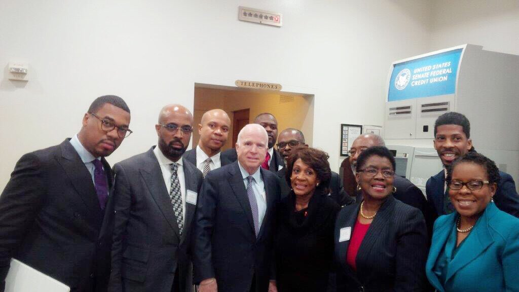 .@SenJohnMcCain was so gracious to greet me & a group of prominent pastors during their visit to the Hill last year. We're sending him our prayers & best wishes. Though we may at times disagree on policy, I share in Sen. McCain's pride for our country & constitution. He is a hero