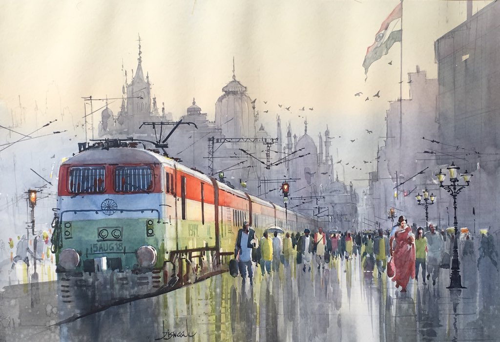 Indian Express,freedom special #watercolorpainting #art #painting #aquarelle #15August2018 #IndianRailways #IndiaIndependenceDay <br>http://pic.twitter.com/iuHE6YoS2D