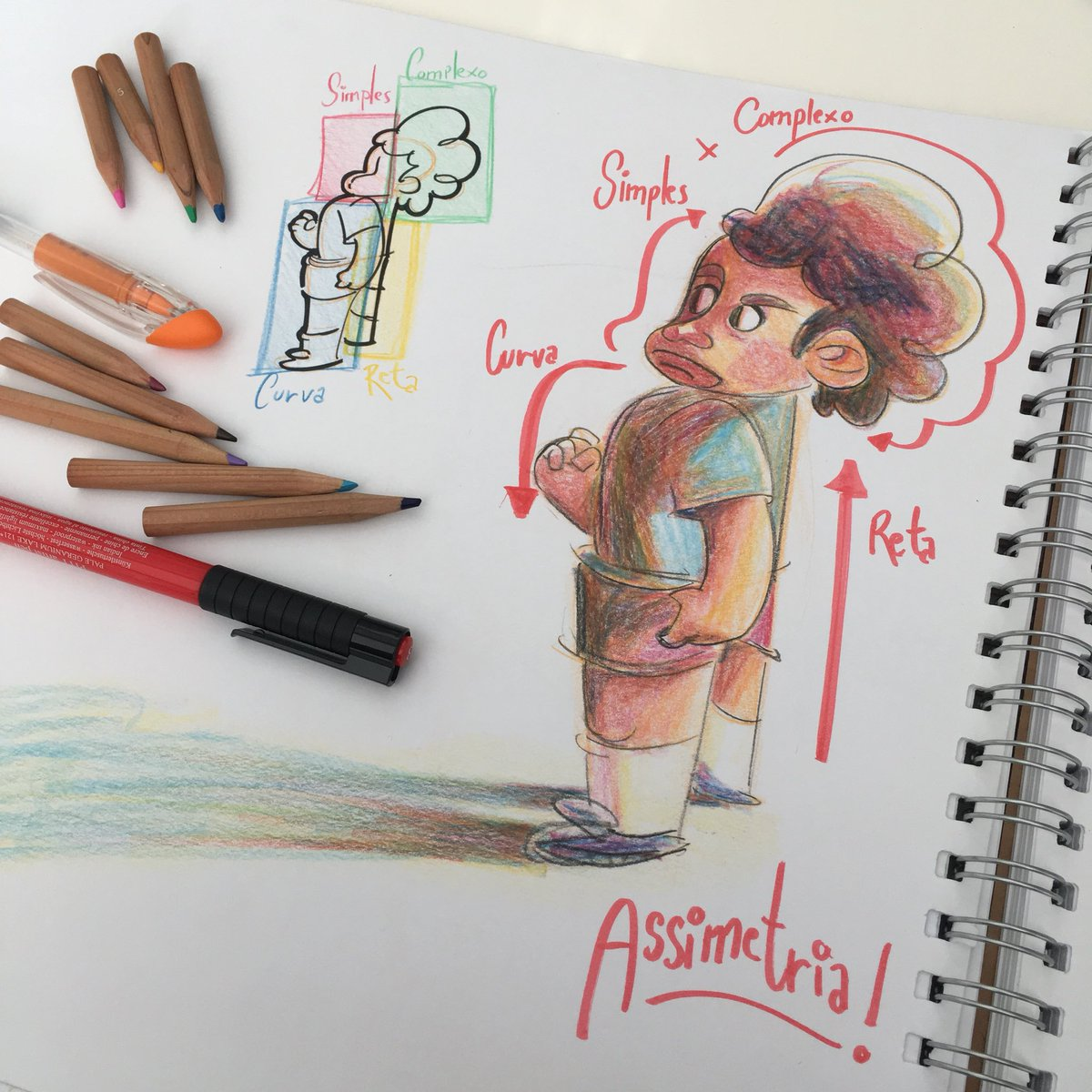 Straights x Curves, and Simple x Complex, are great ways to produce assimetry and variety in your characters! #arttips   #characterdesign #sketch #sketchbook<br>http://pic.twitter.com/CaREEYVfmK