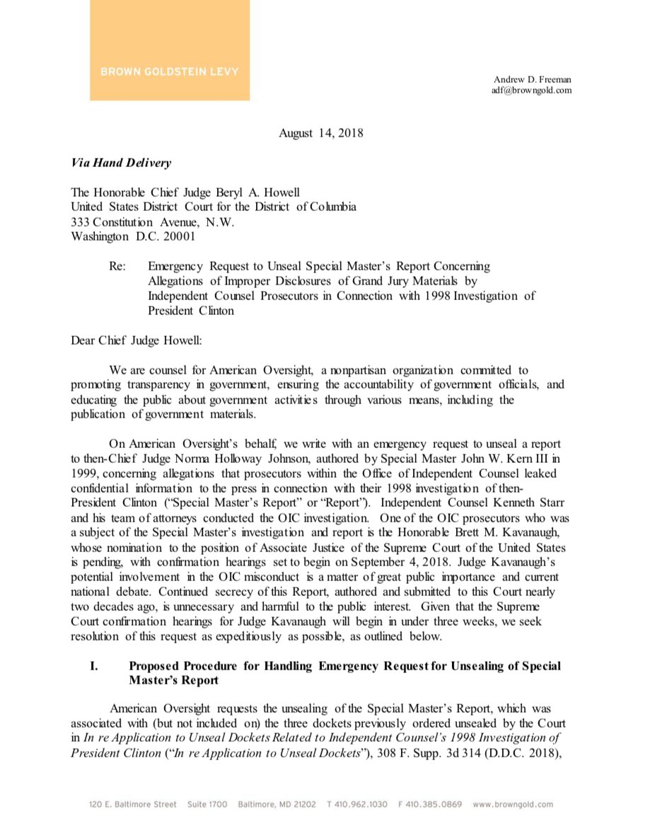 NEW: We&#39;re asking the court to unseal the 1999 Special Master&#39;s report on leaks of confidential information by the Office of Independent Counsel – where Judge Kavanaugh worked at the time:  https://www. americanoversight.org/watchdog-asks- court-to-unseal-1999-report-on-leaks-by-independent-counsel-ken-starrs-office &nbsp; … <br>http://pic.twitter.com/sSvnaPZUKg