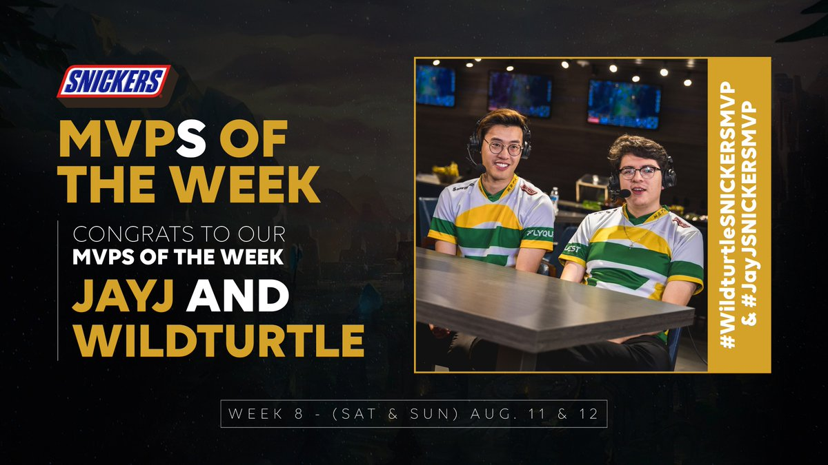 Ladies and Gentlemen, for the first time ever, we have a TWO WAY TIE! It seems the #FLYQUEST Bot Lane was so dominant this past weekend that your @SNICKERS MVPs are @JayJLoL & @WildTurtle! This just proves that you should always use the buddy system.