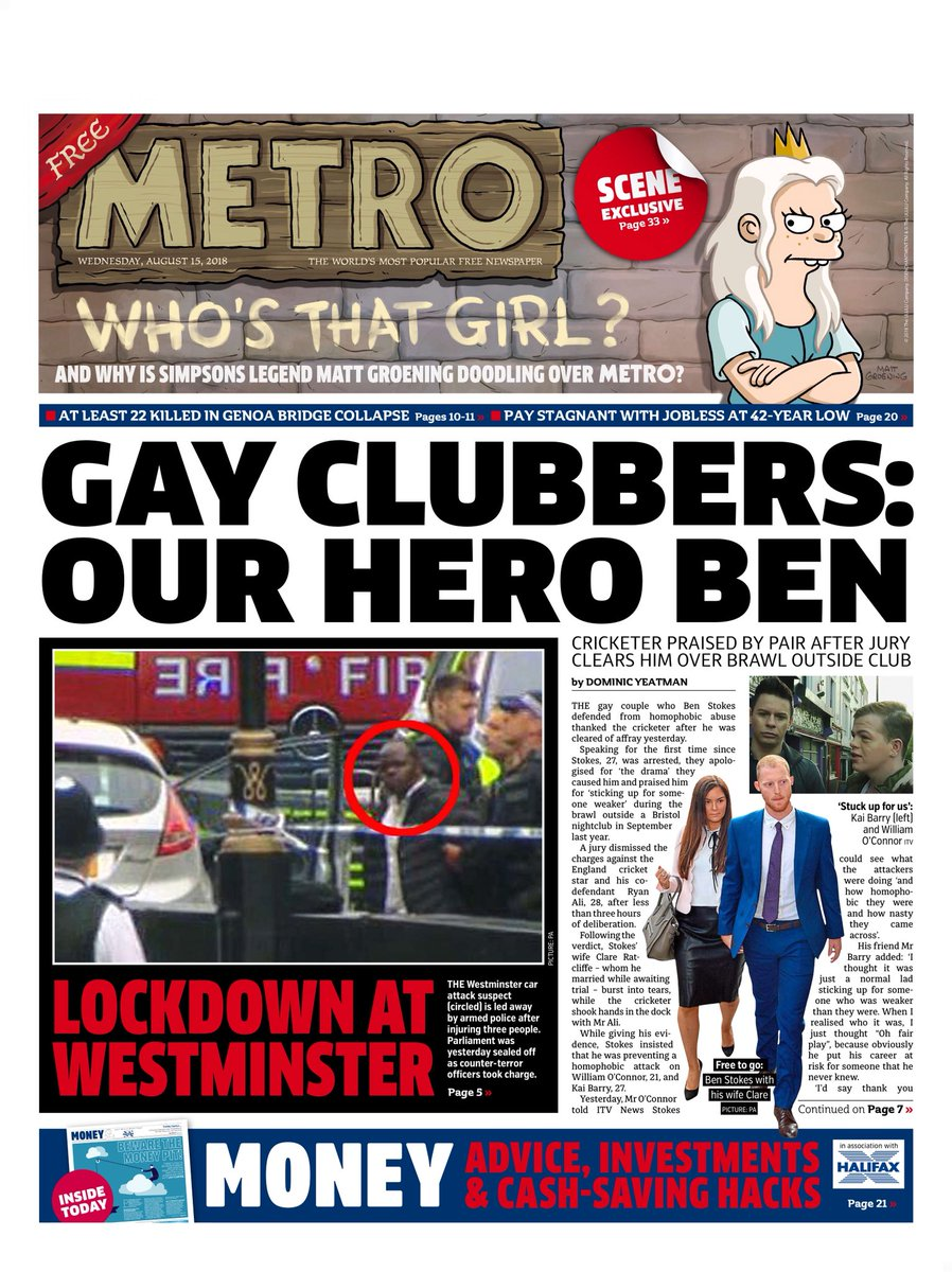 Wednesday's Metro: 'Gay Clubbers: our hero Ben' #tomorrowspaperstoday #bbcpapers (via @Hendopolis) https://t.co/fUyqU04VG7