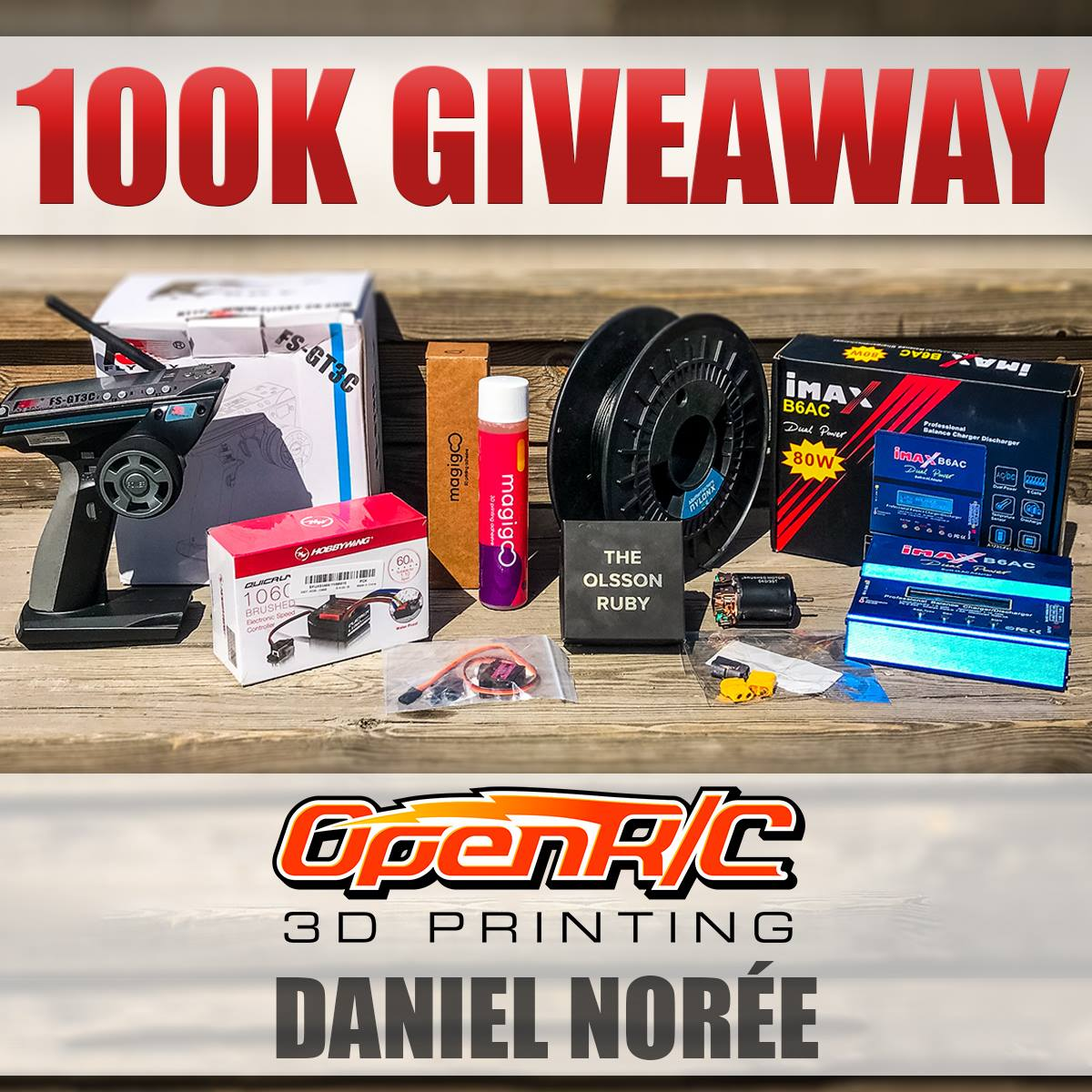 The #OpenRC #F1 100k downloads #giveaway is live, thanks to @MatterHackers @TheOlssonRuby @magigoo and @banggood for sponsoring this giveaway with some awesome prices!  https:// danielnoree.com/openrc-giveawa y/ &nbsp; … <br>http://pic.twitter.com/bSHsj9KKU3