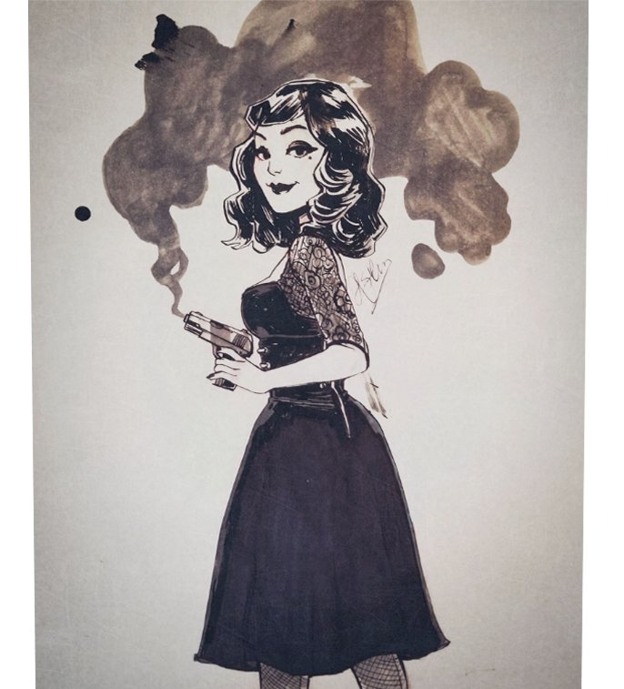 Inking practice/warmup, just a lady with a rather smoky gun ¯\_(ツ)_/¯<br>http://pic.twitter.com/wILWV9Frpg