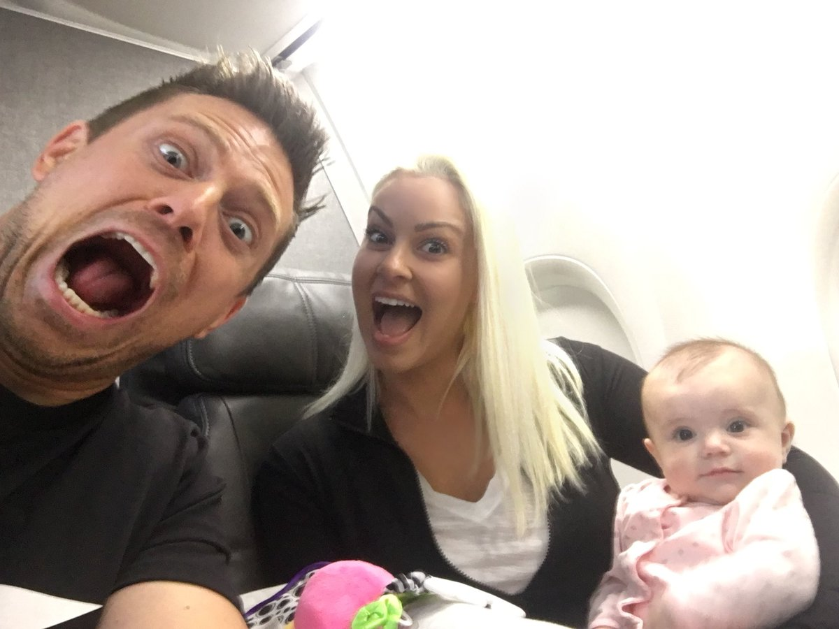 Our first flight w/ this little monster. I'm terrified. #MizAndMrs @MaryseMizanin @MonroeMizanin<br>http://pic.twitter.com/GymArKJJf6