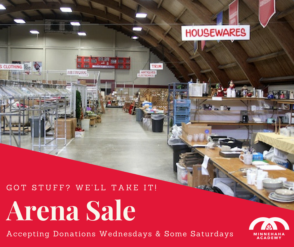 0ef103ada85 Donate it to Minnehaha Academy s Arena Sale! Donations accepted Wednesdays  1-8 p.m. and most Saturdays 9 a.m. - 12 p.m. from now until September 5.