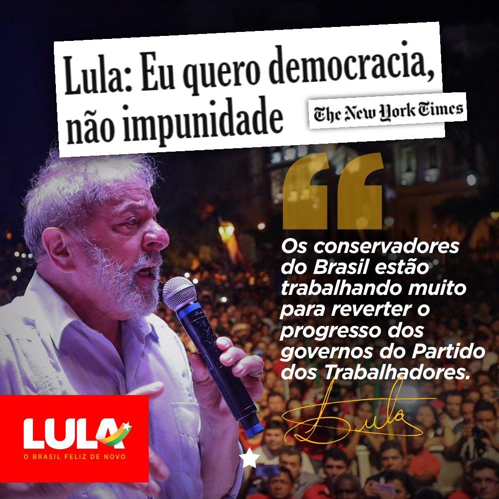 """""""Há um golpe de direita em andamento no Brasil, mas a justiça prevalecerá"""", escreveu ex-presidente @LulapeloBrasil no The New York Times. Leia o artigo complethttps://t.co/N00Q6ydeECo:"""
