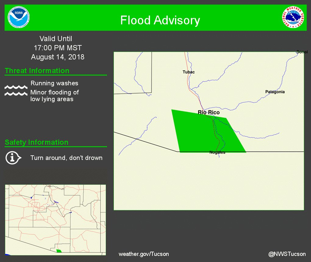 Urban and Small Stream Flood Advisory in effect for South Central Santa Cruz County in Southeastern Arizona until 500 PM MST. https://t.co/RMwMFhexRo #azwx