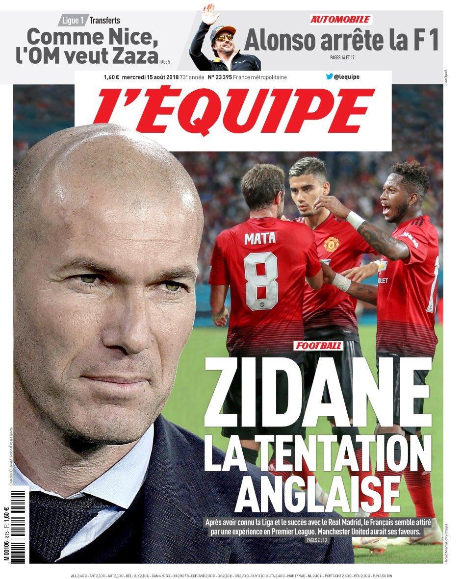 🔴 Zinedine Zidane est intéressé par la Premier League, et particulièrement par Manchester United. (@lequipe)